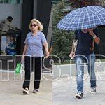 Η Ελένη Μενεγάκη βγήκε για ψώνια με τη μαμά της και κρύφτηκε με την ομπρέλα!