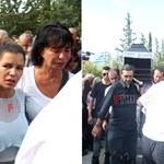 Τραγικές φιγούρες στην κηδεία του Λαυρέντη Μαχαιρίτσα η σύζυγός του και η κόρη τους